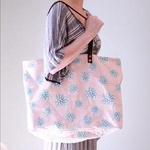 Tori Praver Swimwear Pink Floral Tote Bag